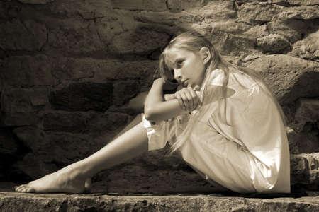 Sad teenager girl photo