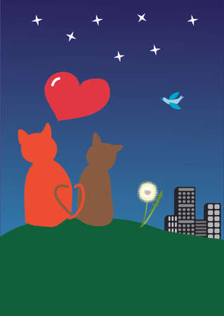 Two cats and heart Vector