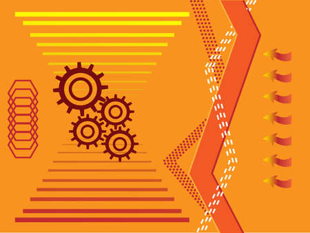 gearings: Four gears over orange background Illustration