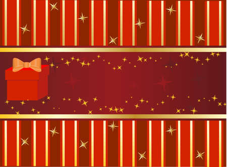 commercial painting: Gift box on red background