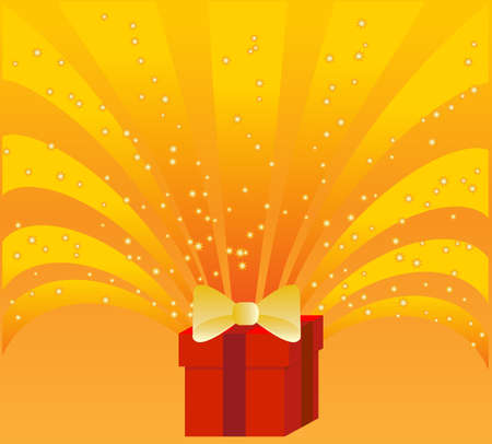 Gift box on gold background Vector