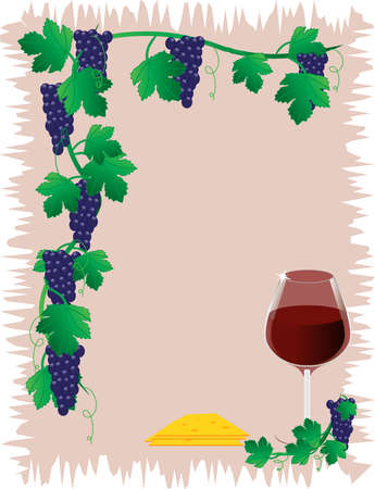 Dark grapes with leafs Vector