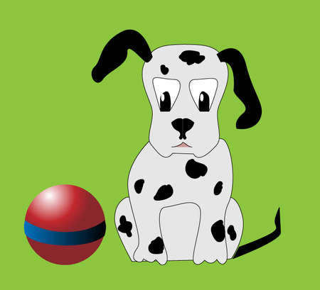 Young puppy with toys ball Vector