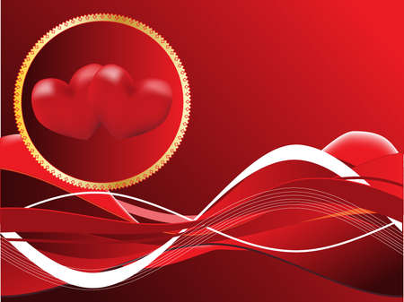 Red background with heart Vector