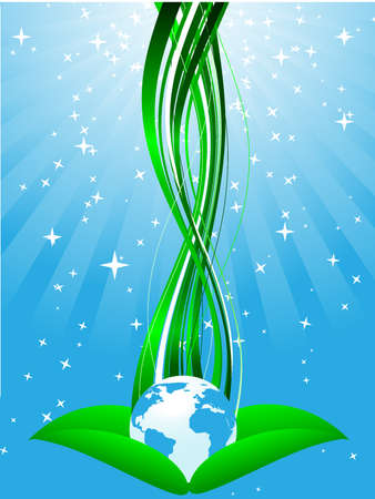 Ecological planet on green leafs Stock Vector - 4106711