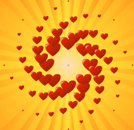 yellow background with heart Vector