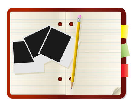 Pencil and photo card on notebook Vector