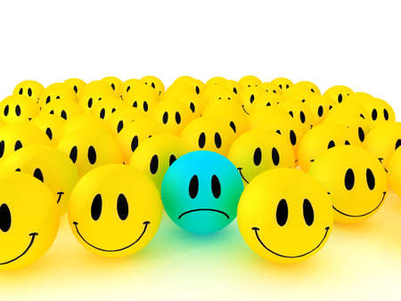 exclusion: Happy faces group. 3D rendering Stock Photo