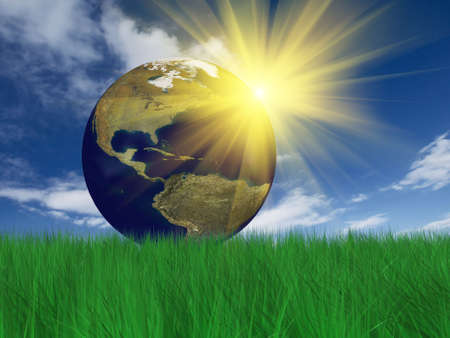 the natural world: Globe on grass. Grass 3D rendering