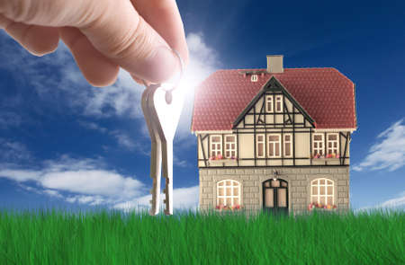 Nice house on grass. Grass 3D rendering Stock Photo - 4610807