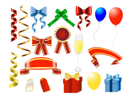 set of colorful ribbons and elements for holydays design Vector