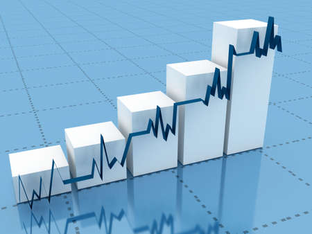 stability: 3d abstract chart for company presentation