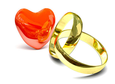 Two gold rings over white background photo
