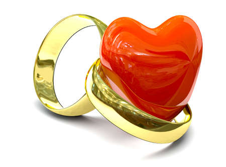 Two gold rings over white background Stock Photo - 5205774
