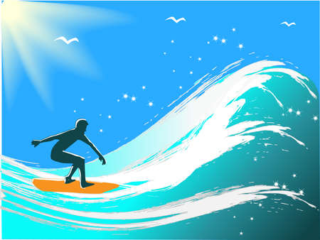 Young men surfing. Vector illustration Vector