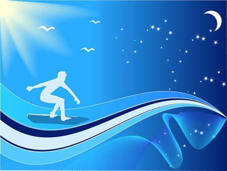 Young men surfing. Vector illustration Vector