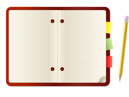 Pencil and polaroid card on notebook Vector