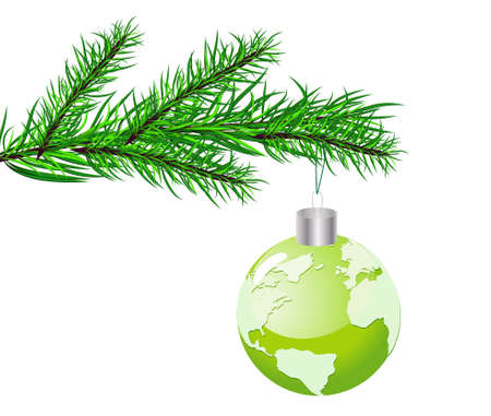 christmas concept: Christmas concept with globe. Vector Illustration