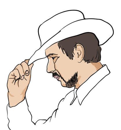 black hat: Hombres en el sombrero negro sobre blanco