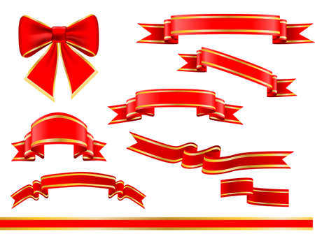 Any ribbons vector set over white Vector