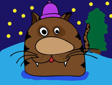 Brown cartoon cat . Vector illustration Vector
