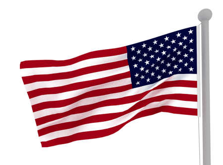 wind force: American flag on white . 3d render