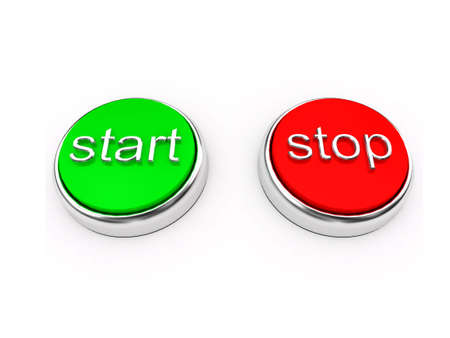 Red and green buttons over white. 3d render photo