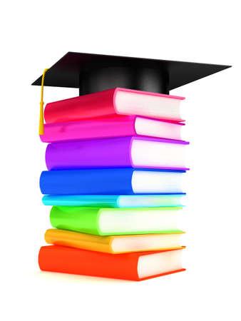 Graduation cap on books . 3d render photo