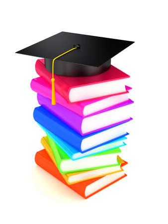 Graduation cap on books . 3d render Stock Photo - 6292768