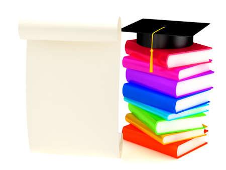 Graduation cap on books . 3d render Stock Photo - 6292766