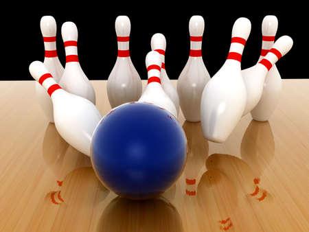 numero diez: Sobre fondo de Bowling Pins. procesamiento 3D