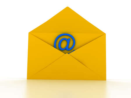 Envelope with e-mail sign over white. 3d render photo