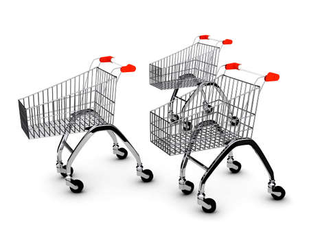 Shoping carts over white background . 3d render photo