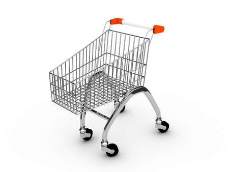 Shoping cart over white background . 3d render