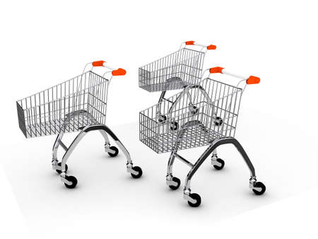 Shoping cart over white background . 3d render photo