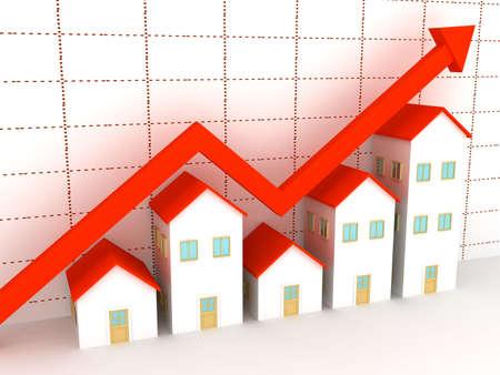 housing estates: Gruppo di case in vendita. rendering 3D  Archivio Fotografico