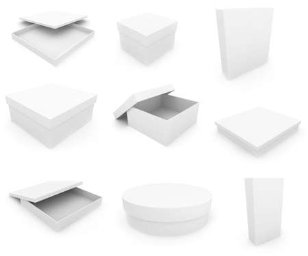 White boxs over white background. 3d render photo