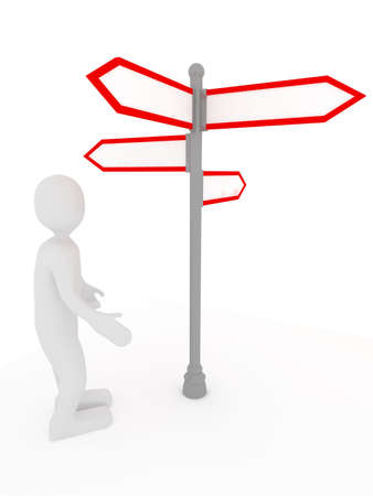 multidirectional: Blank signpost over white . 3d render