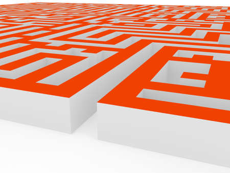 Labyrinth over white background. 3d render photo