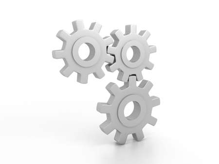 Gears over white background. 3d render Stock Photo - 6809307