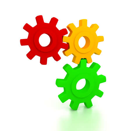Gears over white background. 3d render Stock Photo - 6809320