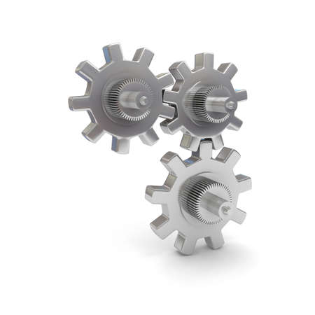 Gears over white background. 3d render photo