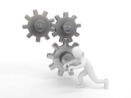 Gears over white background. 3d render Stock Photo - 6809319