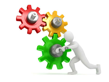 Gears over white background. 3d render Stock Photo - 6809326