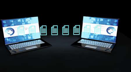 Data transfer concept . 3d render photo