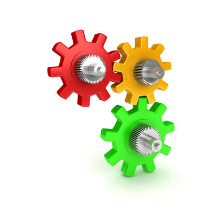 Gears over white background. 3d render Stock Photo - 6809354