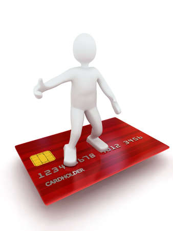 3d person on credit card. Rendered image photo