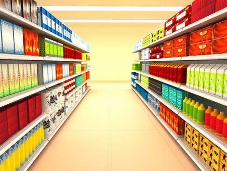 mensole: Supermercato. immagine di rendering 3D  Archivio Fotografico