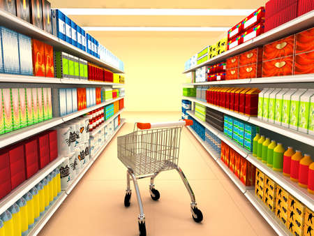 supermarket shelves: Supermarket. 3d rendered image
