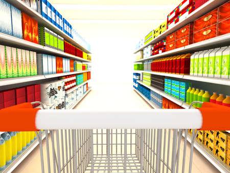 supermarket shelf: Supermarket. 3d rendered image